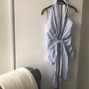 Zara Blue and White Tie-Front Halter Top
